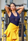 Адриана Лима в фотосессии Yellow Skirt with a Blue Singlet Top – Photoshoot in NYC