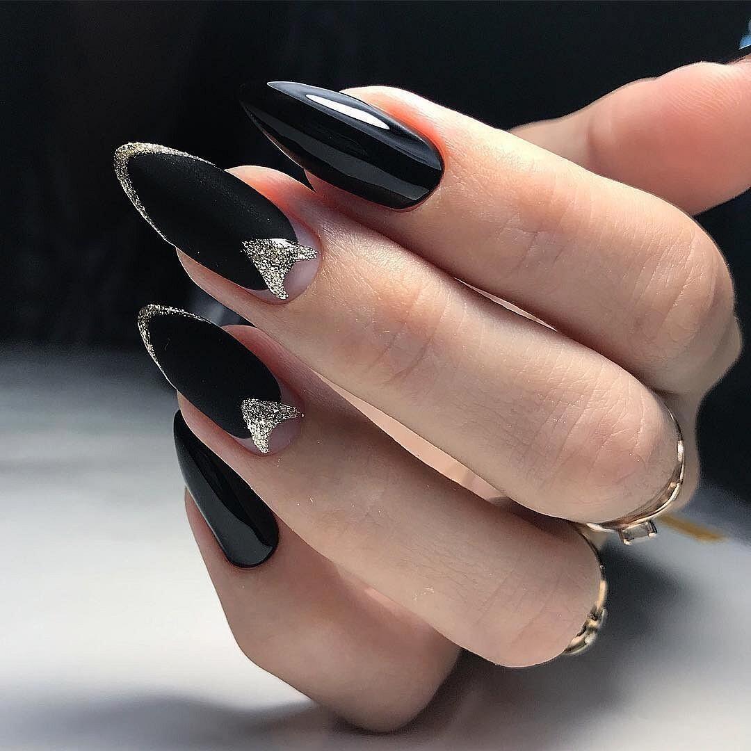 Черный маникюр на острые ногти (17 фото)