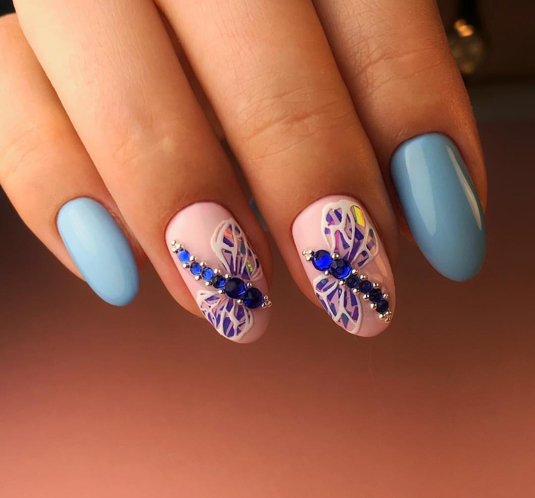 Маникюр стрекоза на ногтях (45 фото)