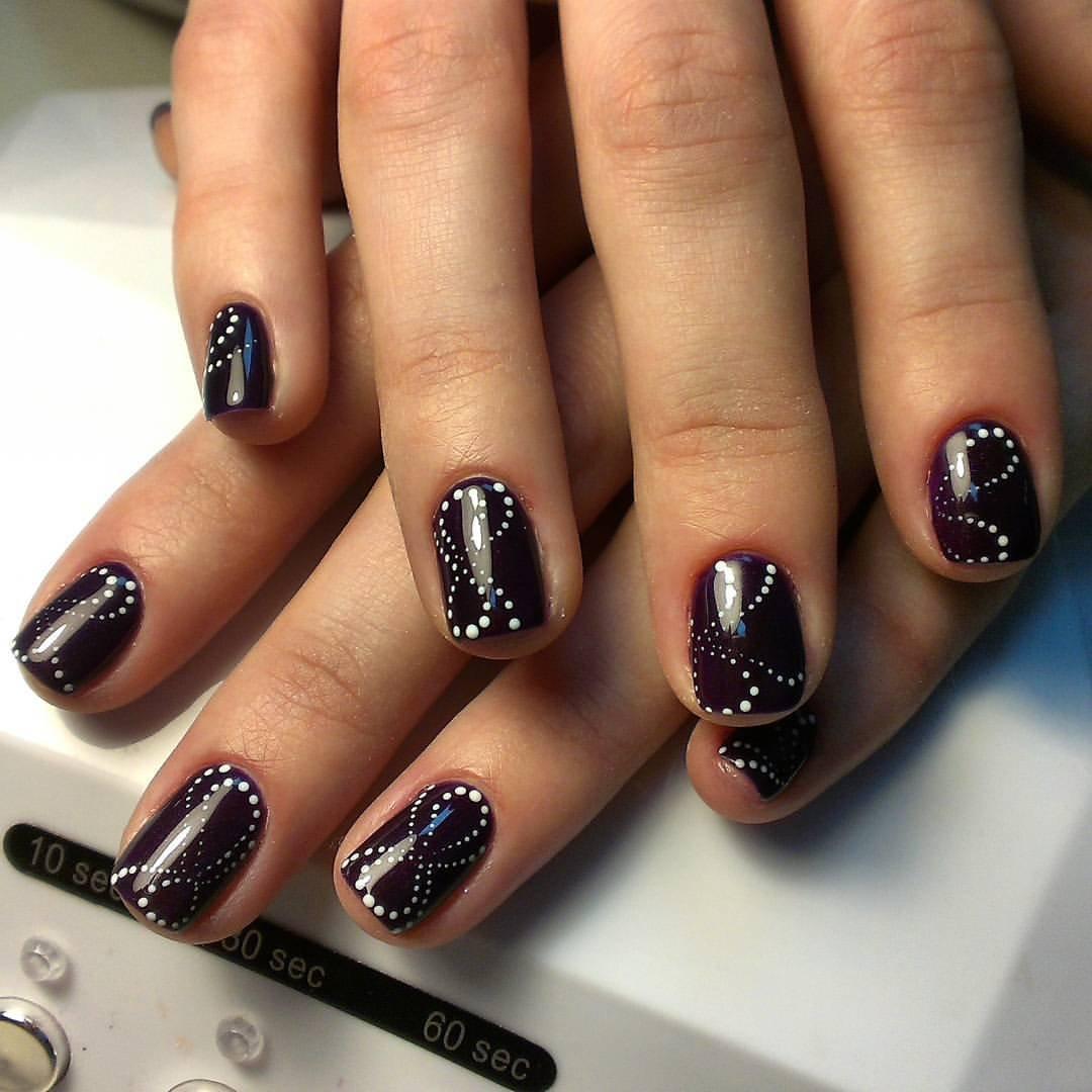 Дизайн ногтей темным гель лаком фото