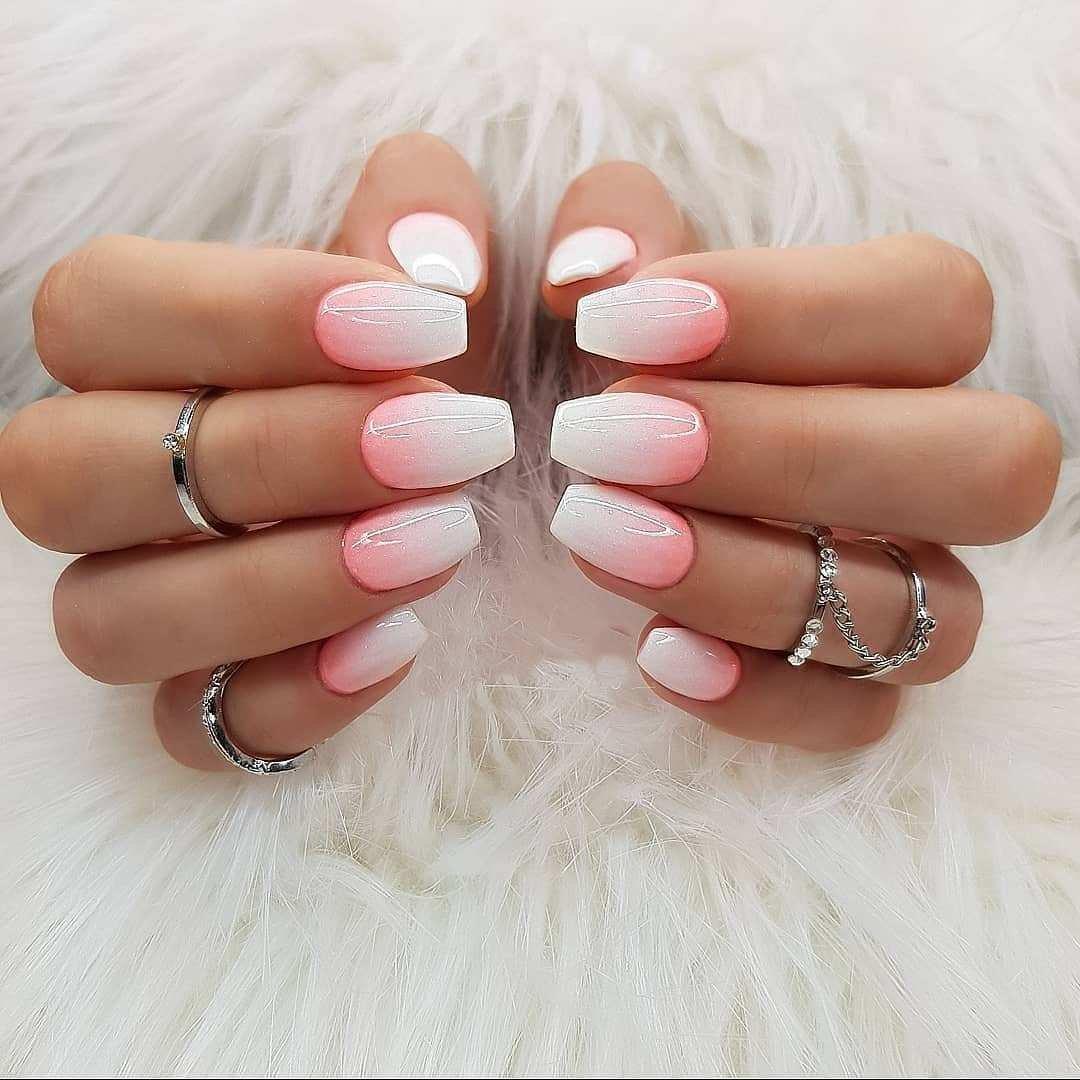 Фото ногтей бело розового цвета