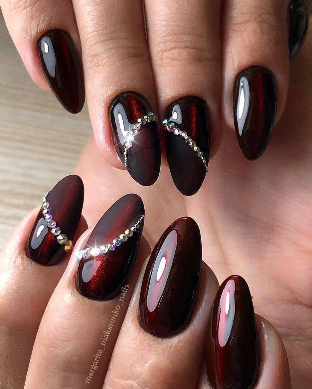 Бордовый маникюр - 81 фото идея красивого дизайна ногтей в б