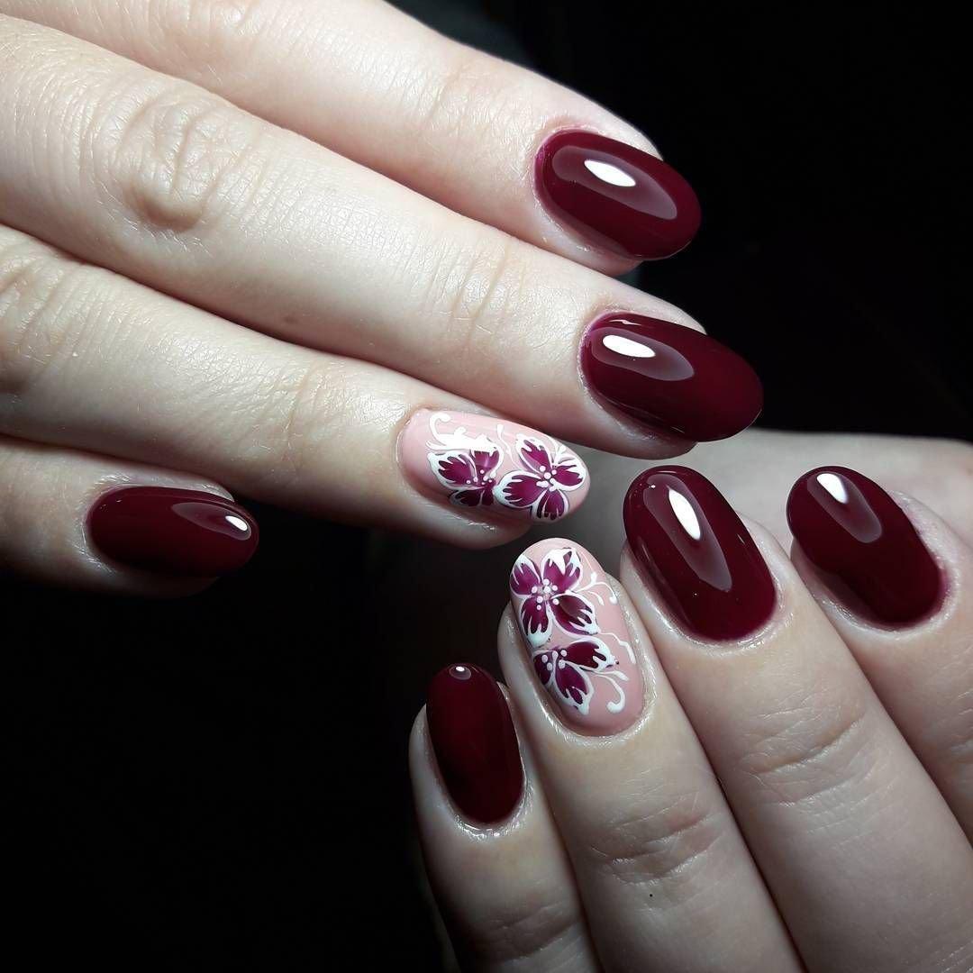 Фото ногтей вишневых с рисунком
