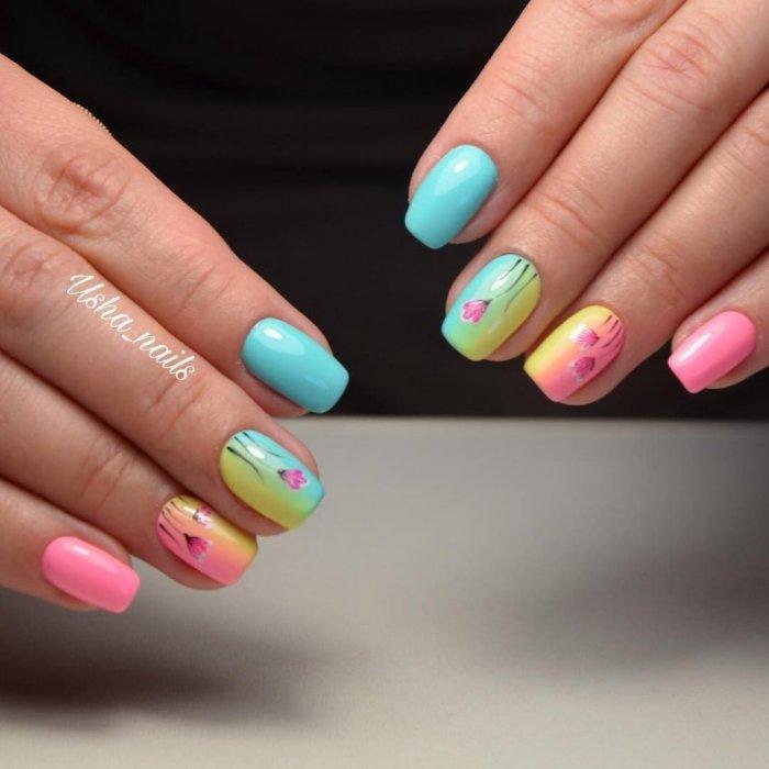 Ногти лето 2020 разноцветные
